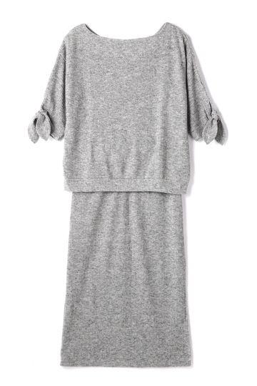 袖リボンリブ編みセットアップ