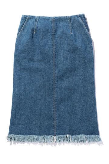 デニムフリンジタイトスカート