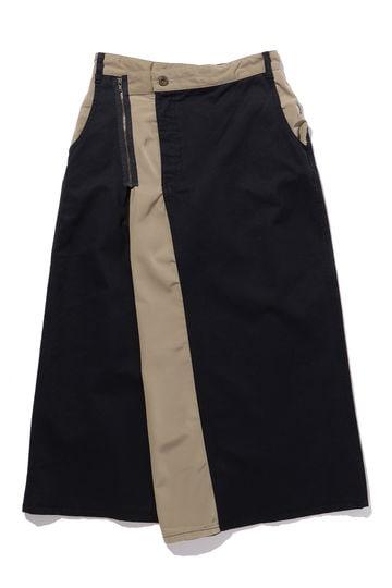 配色ロング丈スカート