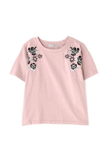 フラワー刺繍クルーネックTシャツ