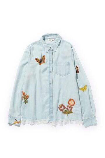 フリンジ使い刺繍シャツ