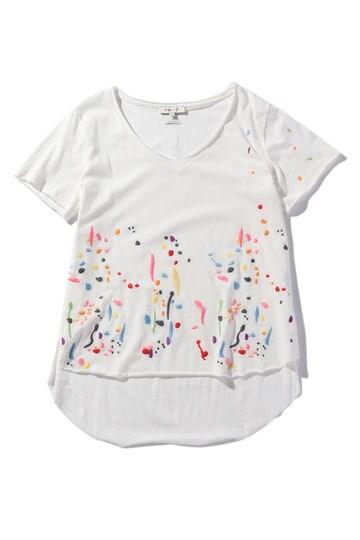 カラフル刺しゅう柄コットンTシャツ