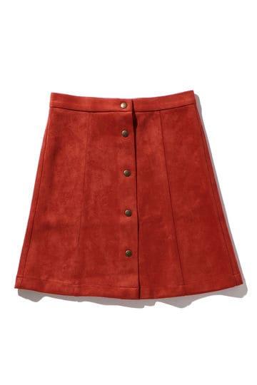 前ボタンフェイクスウェードスカート