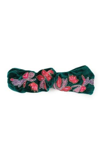 刺繍モチーフベロアターバン