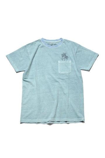 メンズピグメント染めハンドサイン刺繍Tシャツ