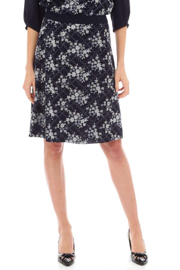 フラワーチェック刺繍スカート