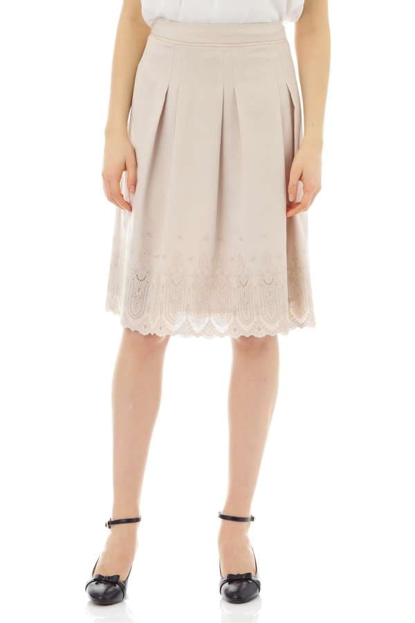 【先行予約 3月下旬 入荷予定】リネンライク刺繍スカート