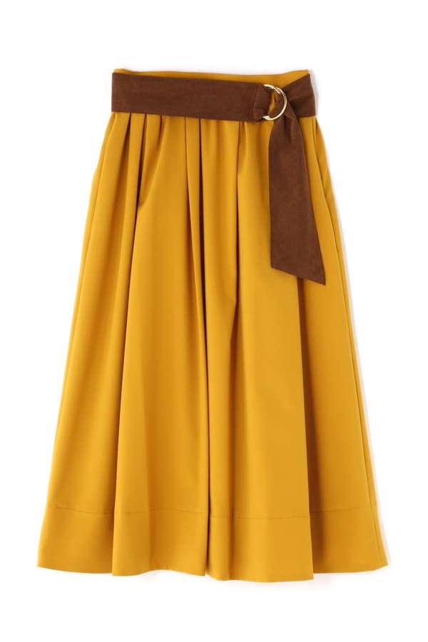 [ウォッシャブル][PRE FALL]サッシュベルト付きタックギャザースカート