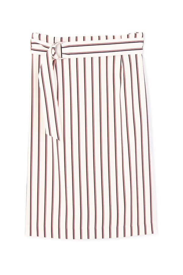 [ウォッシャブル][PRE FALL]マルチストライププリントスカート