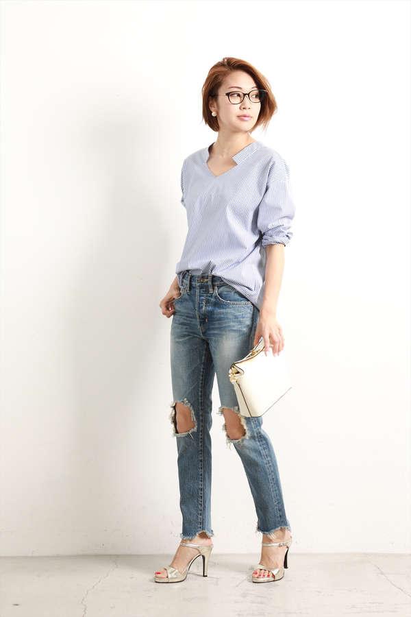 [ウォッシャブル]タイプライター抜き衿シャツ【15000UNDER】