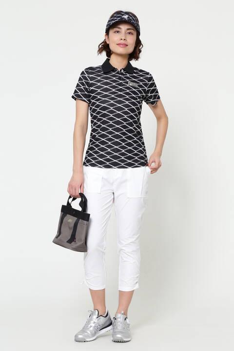 マルチレイヤージオメトリックプリント 半袖 ポロシャツ (WOMENS SPORT)