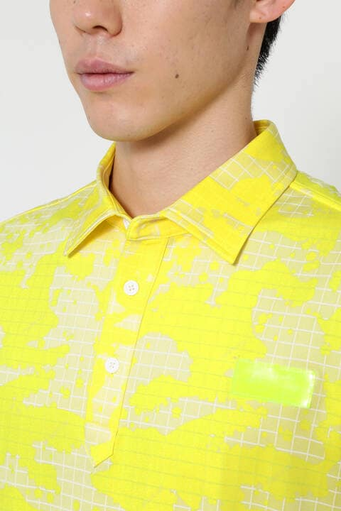 格子柄×カモフラージュ 半袖 カラーシャツ (MENS SPORT)