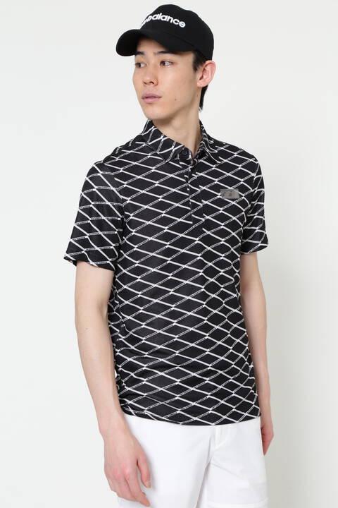 マルチレイヤージオメトリックプリント 半袖 カラーシャツ (MENS SPORT)