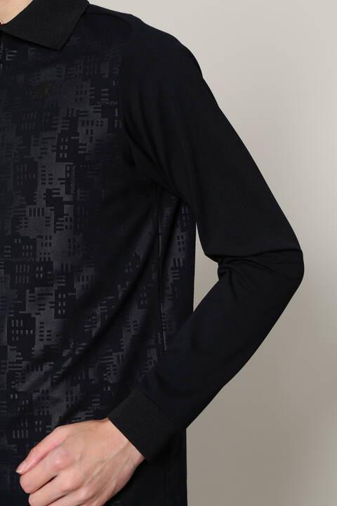 ジオメトリックタワーカモフラージュエンボス×ソリッド 長袖 ポロシャツ (MENS SPORT)
