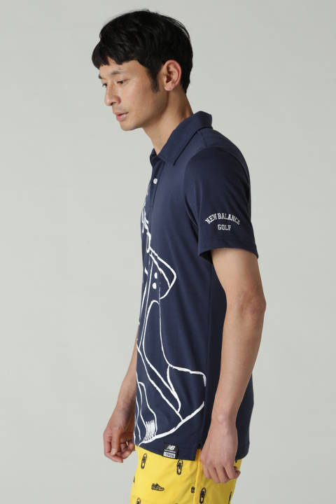 スパンポリビッグシューズプリント 半袖カラーシャツ(MENS METRO)