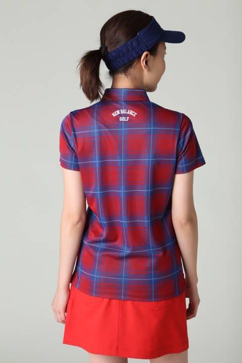 タータンチェック ジャガード半袖カラーシャツ(LADIES)