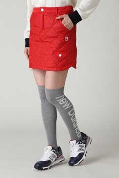 中綿ダイヤキルティング 千鳥ストライプエンボスプリント ミニ丈スカート (WOMENS METRO)