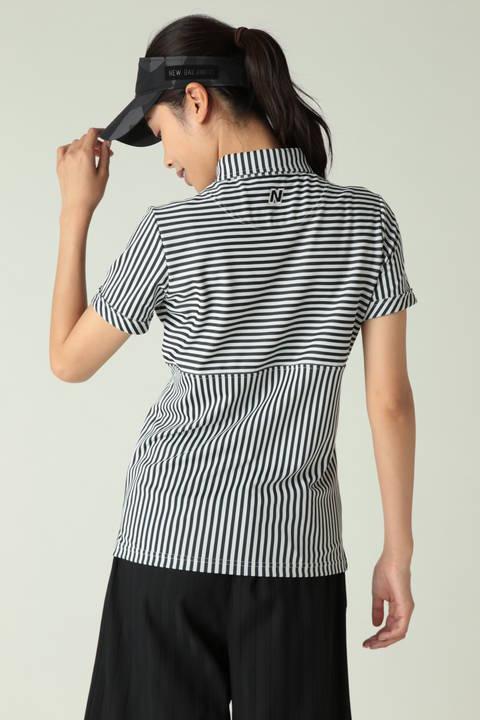 半袖ボタンダウンカラー ストライププリントシャツ (WOMENS)