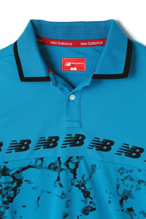 ダイヤメッシュマーブルプリント ストレッチカノコ 半袖ポロシャツ (MENS SPORT)
