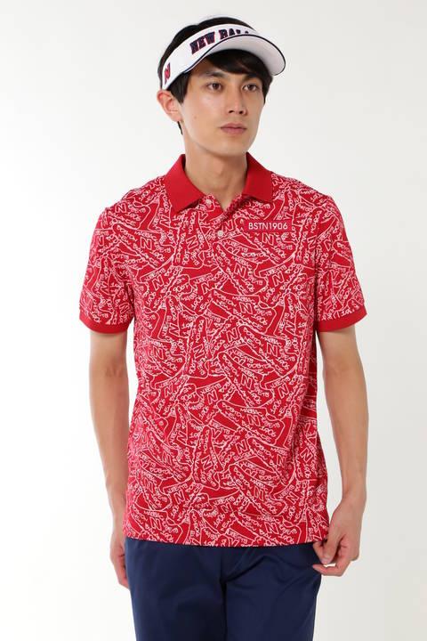 タギングシューズプリント メッシュボーダー半袖ポロシャツ (METRO MENS)