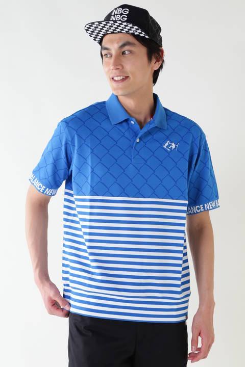 フェンス ボーダープリント COOLMAX半袖ポロシャツ (METRO MENS)