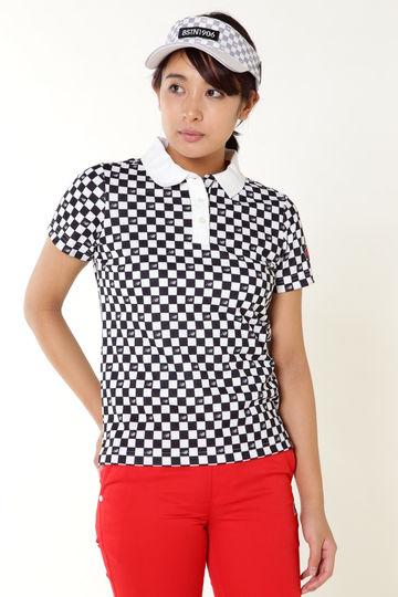 チェッカープリント スパンカノコ半袖ポロシャツ (METRO WOMENS)