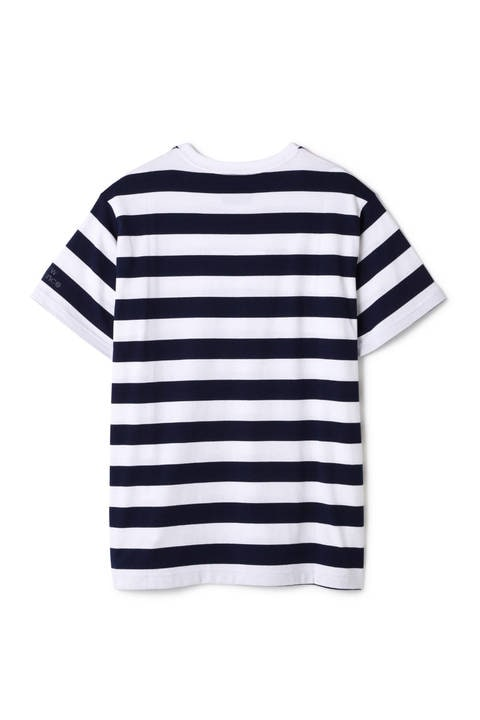 ボーダー天竺 ボックスロゴ刺繍 Tシャツ (MENS METRO)