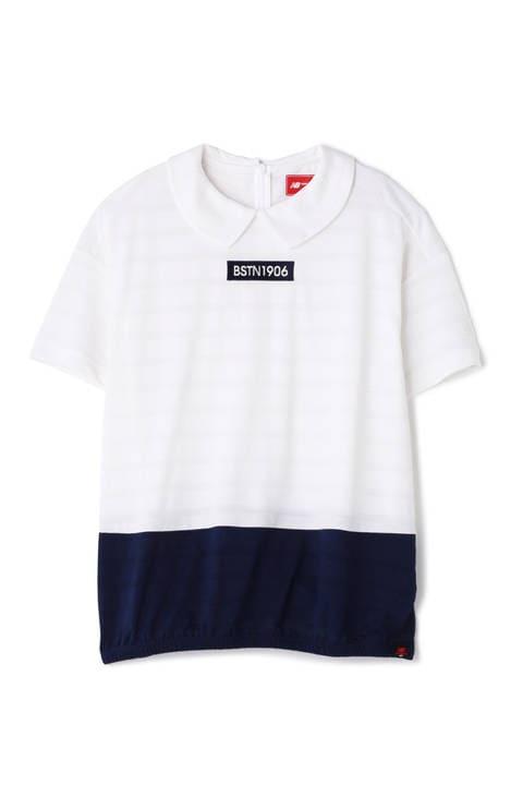 裾配色 ボックスロゴ刺繍 半袖丸衿シャツ (WOMENS METRO)