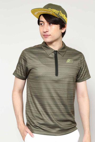 アドレスボーダープリント 半袖 ジップ カラーシャツ (MENS SPORT)