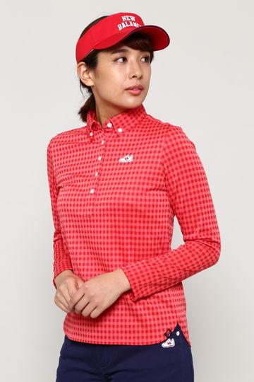 トーナルギンガムジャガード 長袖 ボタンダウン カラーシャツ  (WOMENS METRO)