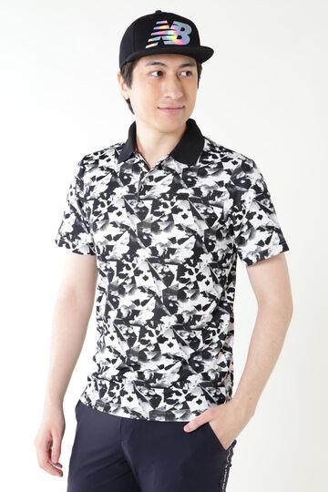 変形カノコダブルフェイス クラウドプリント 半袖ポロシャツ (MENS SPORT)
