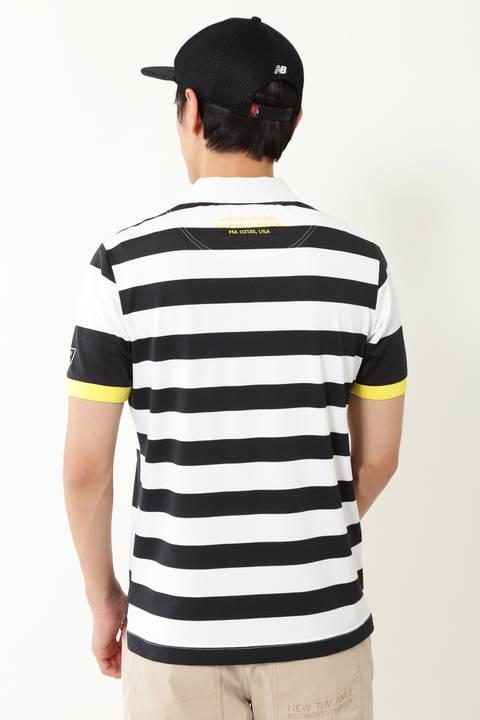 先染パネルボーダー ベアカノコ 半袖ポロシャツ (MENS METRO)