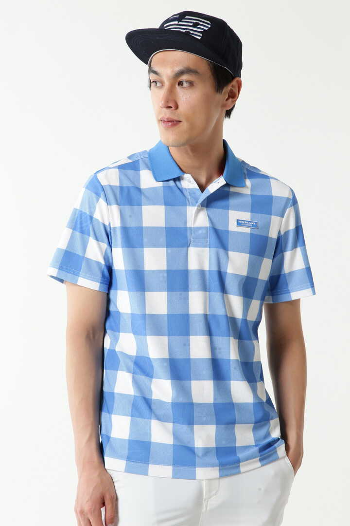 コンピューターメッシュ ヘッドウェアジャガード × ビッグブロックチェックプリント 半袖ポロシャツ (MENS METRO)