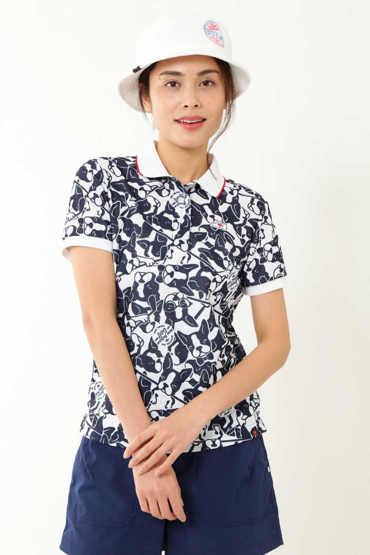 グラフィティシューズプリント&ボストンテリア 半袖ポロシャツ (WOMENS METRO)