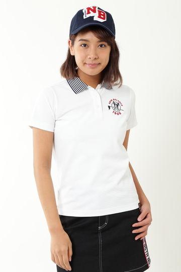 襟ボーダー タックカノコ  半袖ポロシャツ (WOMENS METRO)