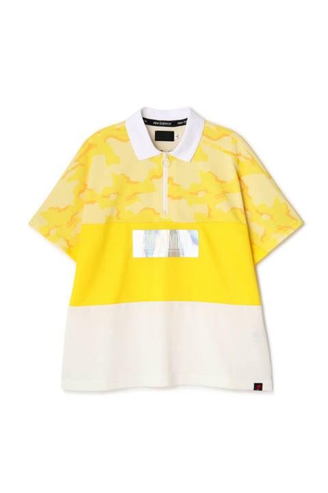 部分カモフラージュプリント ハーフジップ 半袖 ポロシャツ (WOMENS advanced pac)