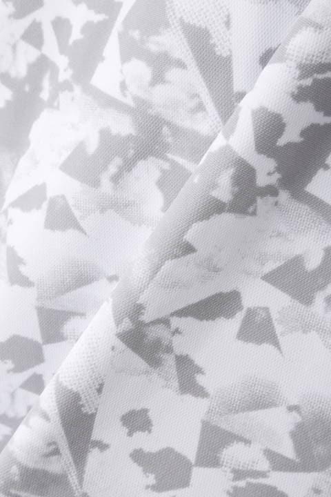 ソリッド×クラウドプリント 半袖 ハーフジップ  シャツ (WOMENS SPORT)