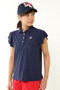 袖フリル コンピューターメッシュ ヘッドウェア ジャガード 半袖 カラーシャツ (WOMENS METRO)