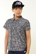 ピンボーダージャガード×ヘッドウェアプリント 半袖ポロシャツ (WOMENS METRO)