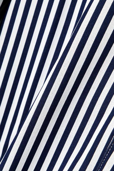 長袖 ボタンダウン  ストライプ ストレッチ ジャガード カットソーシャツ (WOMENS METRO)