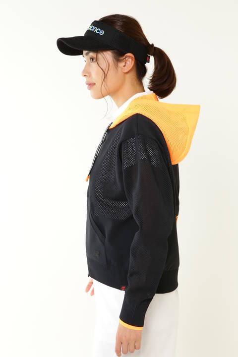 メッシュ × プレーンニッティング フルジップニット フーディ (WOMENS advanced pac)