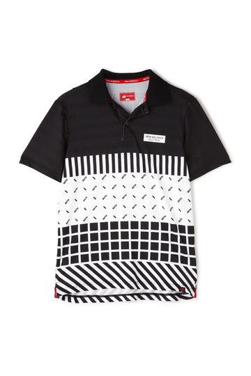 スパンボーダーカノコ パネルオプティカルプリント 半袖ポロシャツ (MENS)