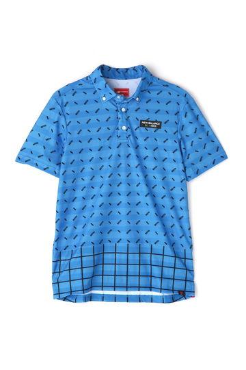 スパンボーダーカノコ チェック×オプティカル ボタンダウン 半袖 ポロシャツ (MENS)
