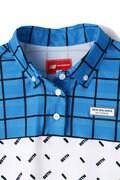 スパンボーダーカノコ チェック×オプティカル ボタンダウン 半袖 ポロシャツ