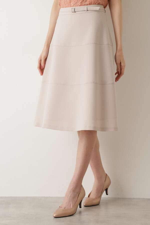[洗える]切り替えフレアスカート