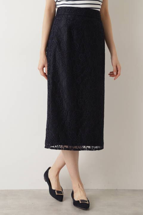 [洗える]チェックフラワーレースナロースカート