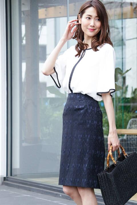 【先行予約4月中旬-下旬入荷予定】レースジャガードタイトスカート