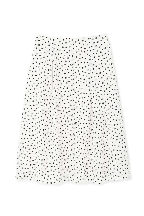 [洗える]ランダムドットプリントフレアスカート