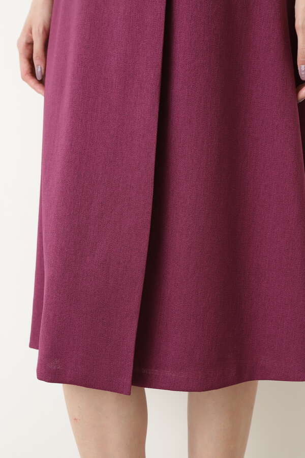 [洗える]ベルト付き巻き風スカート