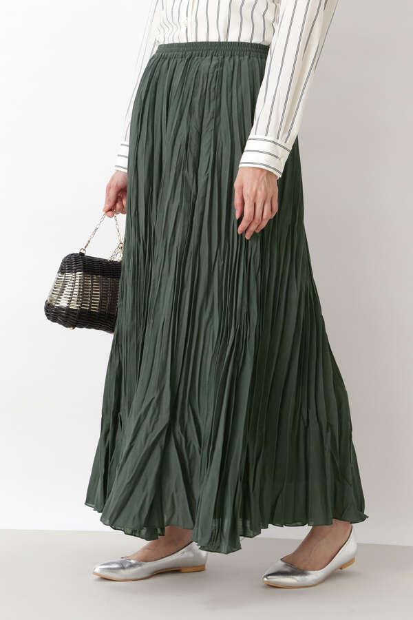 [洗える]ワッシャープリーツマキシスカート